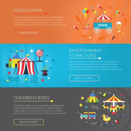 carnival ride: Amusement park online information 3 flat horizontal interactive banners set with attractions and snacks abstract vector illustration Illustration