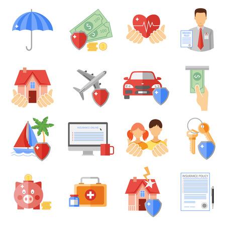 le icone delle assicurazioni istituito con trasporto casa e sicurezza di vita simboli piatto isolato illustrazione di vettore Vettoriali