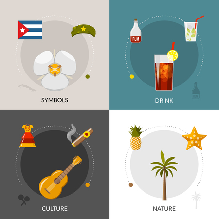 cuban flag: Cuban national symbol flag and famous rum cocktail 4 flat icons square composition banner abstract isolated vector illustration