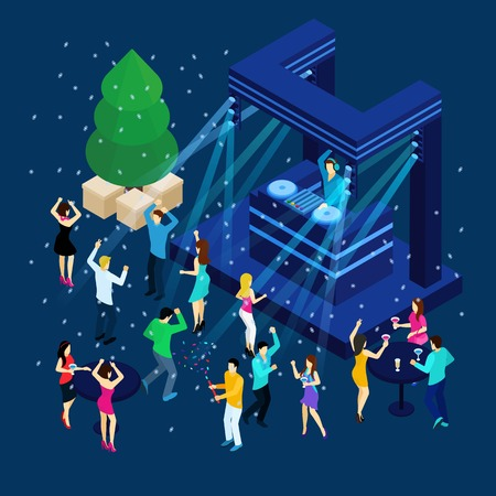 dj headphones: People dancing and celebrating New Year on blue background isometric vector illustration