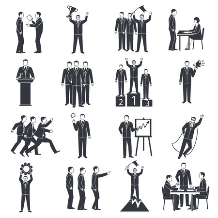 Leadership black white icons set with success and business symbols flat isolated vector illustration Illustration