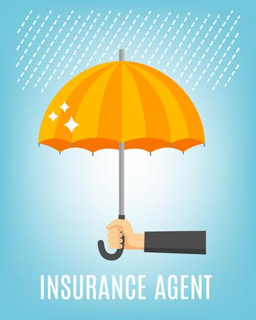 Verzekeringsagent achtergrond met regen paraplu en hand plat vector illustratie