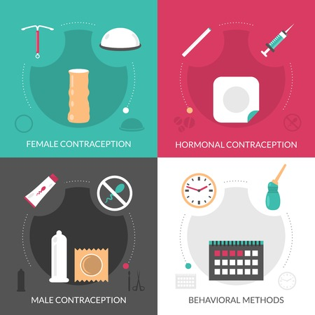 female sex: Contraception concept icons set with hormonal and behavioral methods flat isolated vector illustration