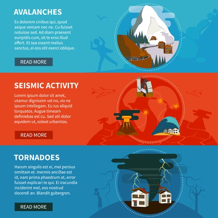 tornadoes: Natural disasters flat horizontal banners set with avalanches seismic activity and tornadoes vector illustration