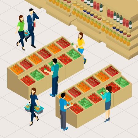 mujer en el supermercado: Compras de la familia con los padres y los niños en una ilustración vectorial isométrica supermercado Vectores