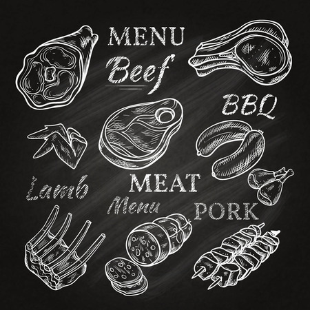 alitas de pollo: iconos del men� retro carne en la pizarra con los pinchos de jam�n salchichas de chuletas de cordero salchichas de cerdo productos gastron�micos ilustraci�n vectorial aislado