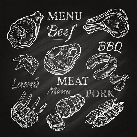 Retro icone del menu di carne sulla lavagna con würstel costolette di agnello salsiccia di maiale spiedini di prosciutto prodotti gastronomici isolato illustrazione vettoriale