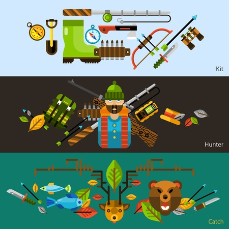 hunting: Hunting and fishing horizontal banners with animals and hunter equipments flat elements isolated vector illustration Illustration