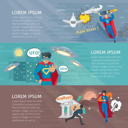 Superhero horizontal banners set with UFO symbols flat isolated vector illustration
