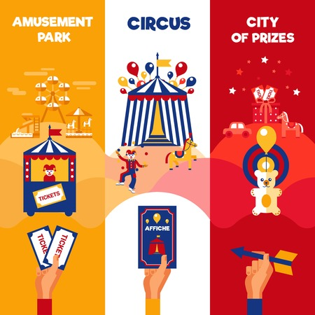Amusement park entree tickets sale for traveling circus magic show 3 vertical colorful retro banners announcement poster flat  vector illustration