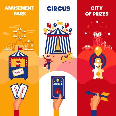 Pretpark entree tickets te koop voor reizende circus goochelshow 3 verticale kleurrijke retro banners aankondiging poster flat vector illustratie