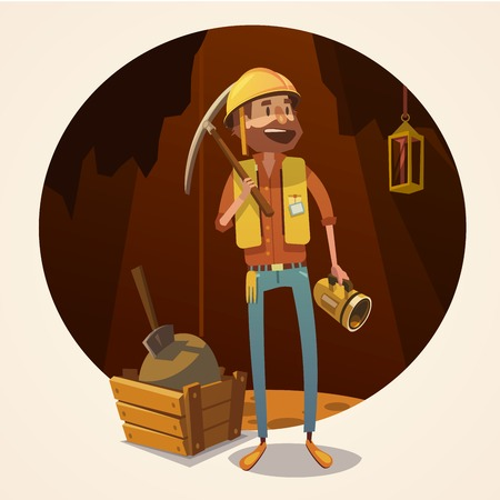 gold mining: Mining concept with retro cartoon style miner in coalmine vector illustration