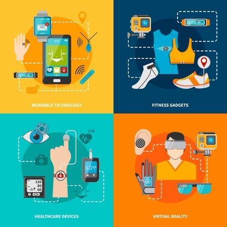 Conjunto de la tecnología inteligente para la aptitud de la salud de realidad virtual tecnología portátil ilustración vectorial