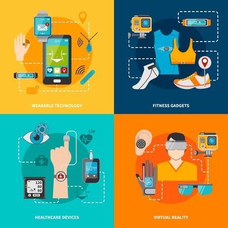 Smart technology set for healthcare fitness virtual reality wearable technology vector illustration Stock Vector - 50703577