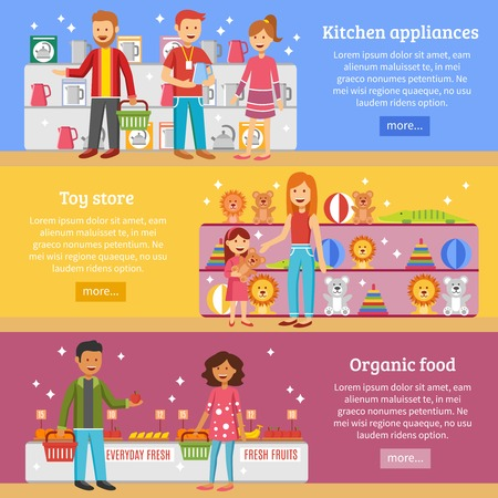 checkout button: Family weekend shopping for kitchen appliances and organic food  information online 3 horizontal flat banners design vector illustration