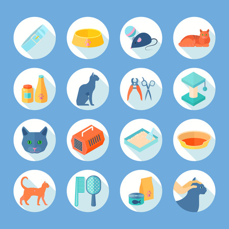 toy toilet bowl: Indoor cat care flat round icons set with food and accessories supply abstract shadow isolated vector illustration Illustration