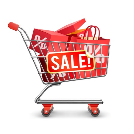 discount store: Self-service department store shopping trolley cart full with red discount boxes on season sale flat vector illustration Illustration