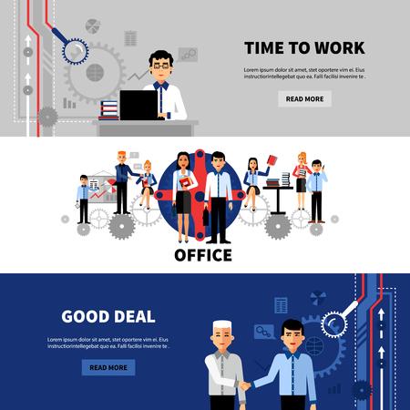 buen trato: Concepto de negocio oficina Gente de 3 banners en línea horizontal establece con bastante plana abstracto aislado ilustración vectorial