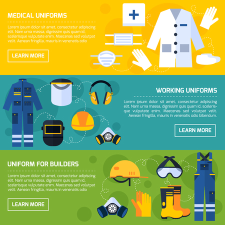 safety at work: Protective uniform and equipment for medical personnel and construction workers 3 flat banners abstract isolated vector illustration