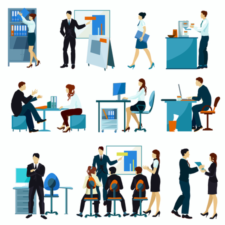 office presentation: Office workers flat set with workflow presentation discuss teamwork isolated vector illustration.