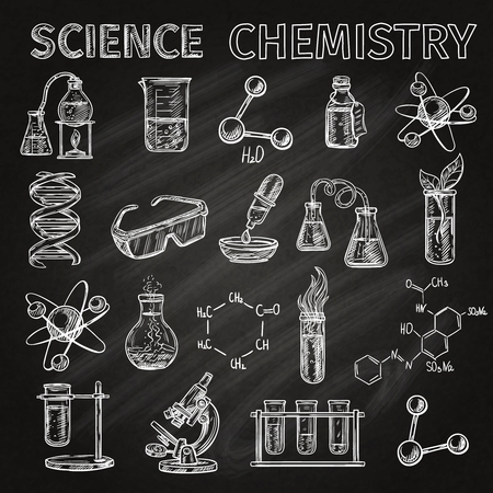 combinations: Science and chemistry sketch chalkboard icons set with elements combinations isolated vector illustration Illustration