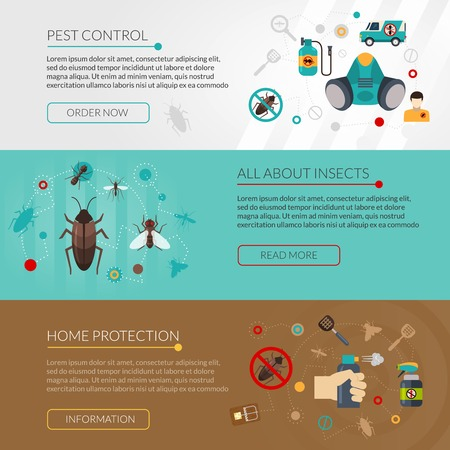 controlling: Interactive website for information about insects pest control and extermination 3 flat horizontal banners set isolated vector illustration