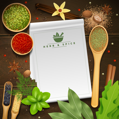 White recipe notepad on wooden background surrounded by various cooking herbs and spices realistic vector illustration