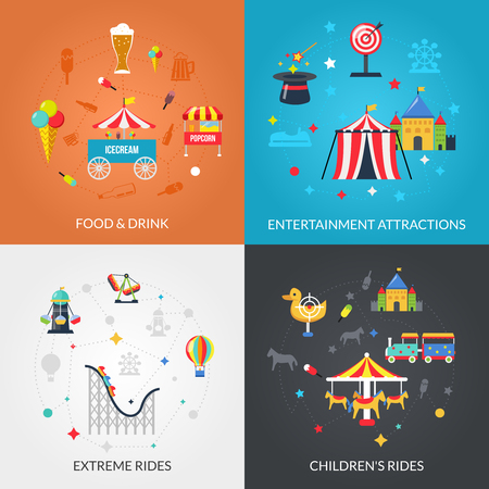 Traveling circus amusement park attractions with drinks and snacks 4 flat icons composition square abstract isolated vector illustration