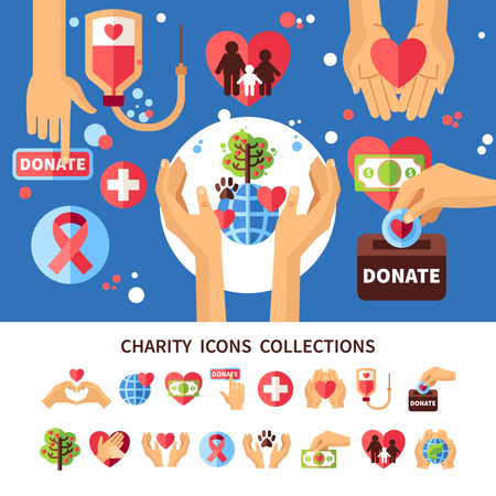 charity collection: Charity infographic set with donations care and love symbols flat vector illustration