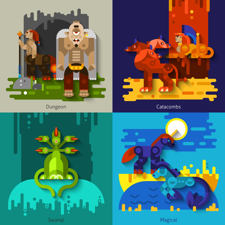 dungeon: Four flat mythical creatures with dungeon and swamp and catacombs and magical set vector illustration