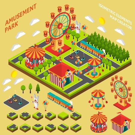 遊園地アトラクション要素マップ遊園地組成バナー抽象的なベクトル イラスト作成者アイソメ シンボル