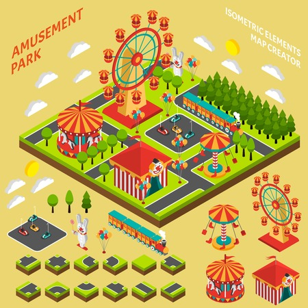 Parque de atracciones elementos de atracciones mapa creador símbolos isométricos para parque de atracciones composición de la bandera resumen ilustración vectorial Ilustración de vector