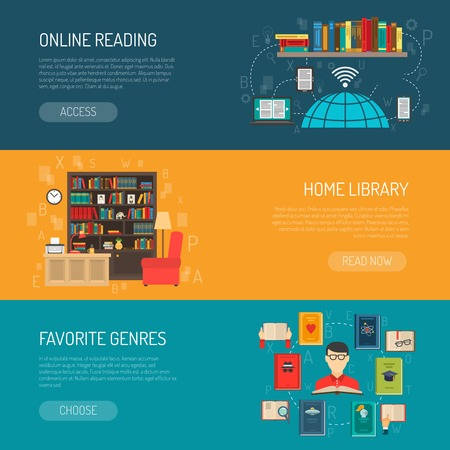 book shelves: Modern home online and traditional paper book shelves library 3 flat horizontal banners set isolated vector illustration