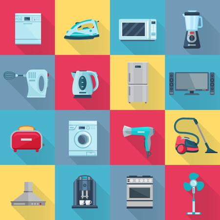 Geïsoleerde kleur schaduw huishoudelijke apparaten pictogrammen set van elektrische elektronische en digitale producten platte vector illustratie