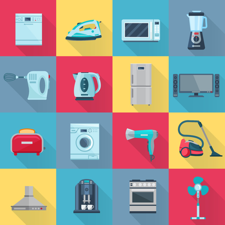 electrical appliances: Isolated color shadow household appliances icons set of electrical electronic and digital products flat vector illustration