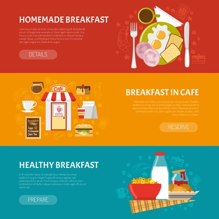 food and beverages: Breakfast horizontal banners set with homemade and healthy breakfast symbols flat isolated vector illustration Illustration