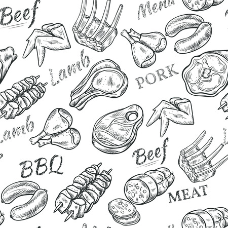 bbq ribs: Meat black white sketch seamless pattern with beef and pork vector illustration Illustration