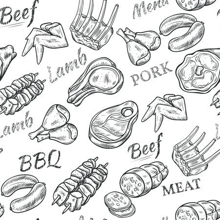 Viande noir blanc seamless croquis avec boeuf et de porc vecteur illustration Vecteurs