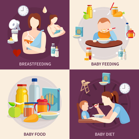 seni: La scelta del cibo sano per i neonati e bambini piccoli di 4 piatti icone composizione piazza astratto banner illustrazione vettoriale isolato