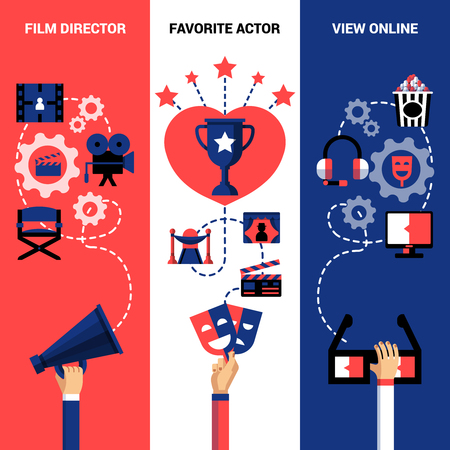 film director: Cinema vertical banners with film director tools festival prize and view online icons vector illustration