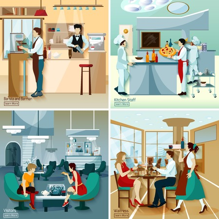 restaurant staff: Restaurant people 2x2 design concept set with barista barmen kitchen staff visitors and waitress flat vector illustration
