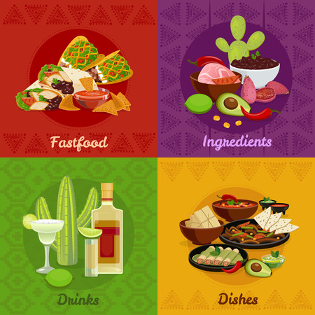 fajita: Mexican native food spicy dishes snacks and drinks 4 flat icons square composition banner isolated vector illustration