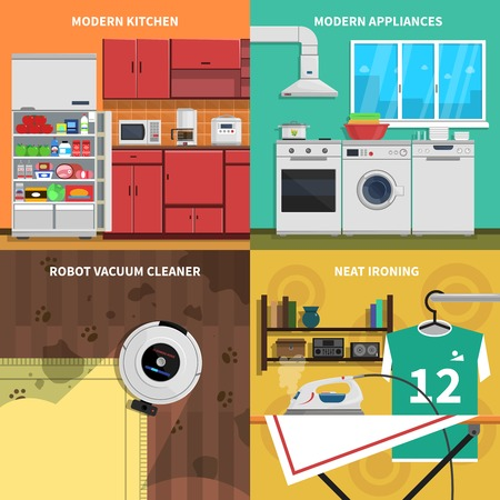 neat: Household appliances concept icons set with modern kitchen and neat ironing symbols flat isolated vector illustration