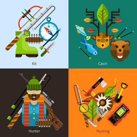 cazador: Concepto de caza y pesca de diseño conjunto con iconos planos de equipos cazador y actividad al aire libre aislado ilustración vectorial Vectores