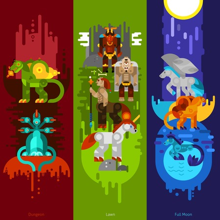 mythical: Three banners flat of mythical creatures with dungeon and lawn and full moon set vertical vector illustration