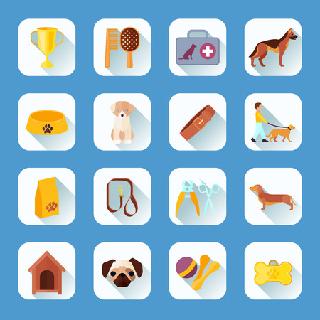 light shadow: Touch screen buttons apps pets dogs and accessories  flat icons  collection light shadow abstract vector isolated illustration