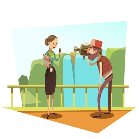 broadcasting: Female journalist with mic and male cameraman retro style cartoon vector illustration