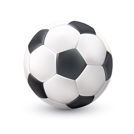 black pictogram: Realistic classic soccer football ball white black image with light shadow reflection pictogram single object vector illustration
