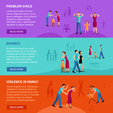 hurting: Flat  horizontal banners set with people having  family problems    vector illustration