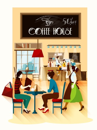 barista: Coffee house  design concept with cafe employees behind bar waitress with tray and visitors sitting at table flat vector illustration